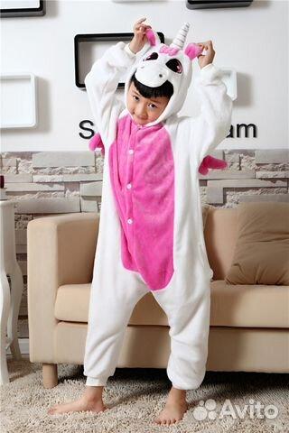 Пижама кигуруми Единорог розовый на рост 90-100 см  b1f94312bc391