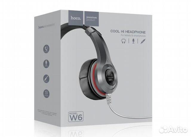 Наушники полноразмерные Hoco W6 с микрофоном черны купить в Пермском ... 4be7a97f79a36