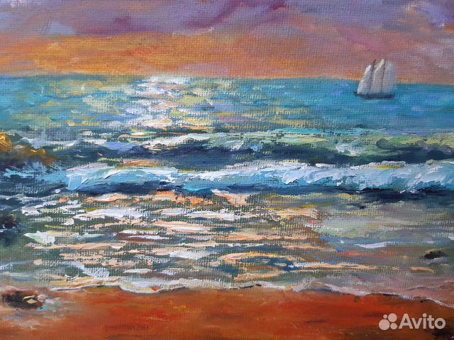 Картина Море. Тучи. Холст на картоне/масло, 30х4 89179297230 купить 2