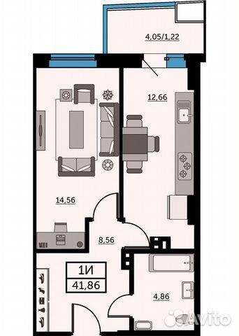 1-к квартира, 41.5 м², 23/25 эт. купить 1