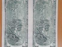 Банкноты 2 долара США на одном листе