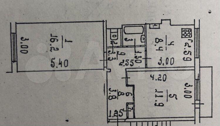 2-room apartment, 48.2 m2, 2/5 floor.