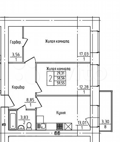 2-к квартира, 59.6 м², 1/13 эт.  89115506177 купить 1